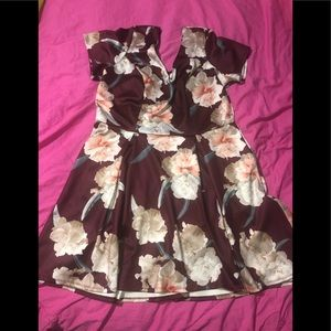 ❣️ Beautiful Maroon Floral Fit & Flare dress ❣️